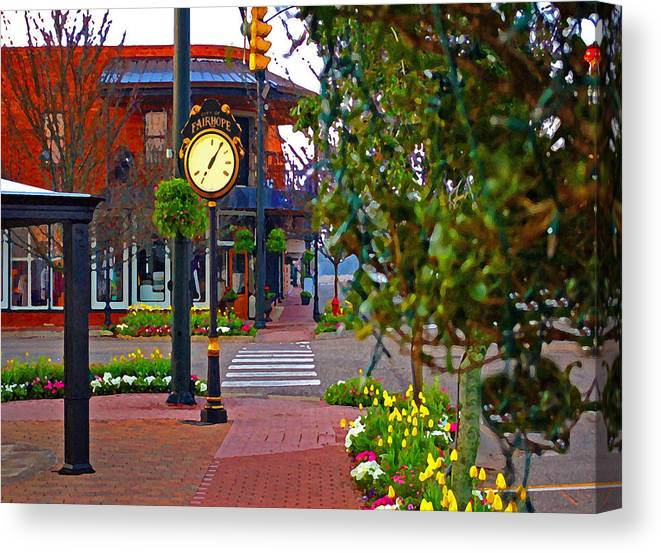Fairhope Canvas Print featuring the painting Fairhope Ave With Clock Down Section Street by Michael Thomas