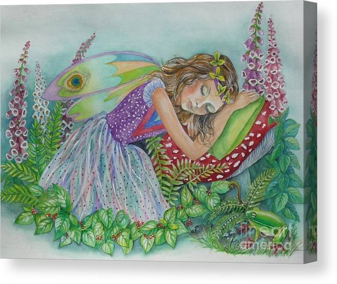 Fairy Canvas Print featuring the painting Fairy Dreams by Val Stokes