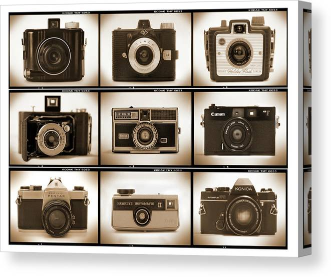 Vintage Cameras Canvas Print featuring the photograph Film Camera Proofs 1 by Mike McGlothlen