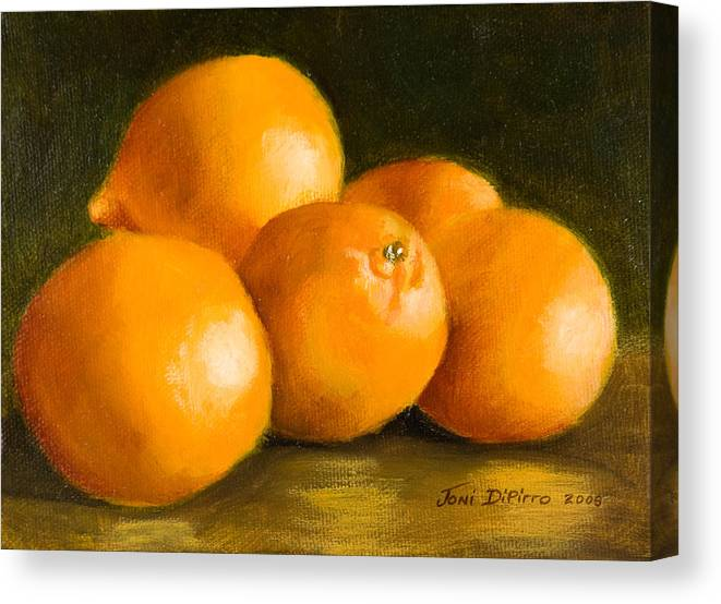Fruit Canvas Print featuring the painting Five Oranges by Joni Dipirro