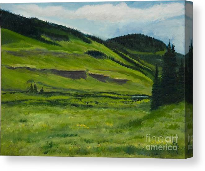 Landscape Artwork Painting Paintings Canvas Print featuring the painting Flattops Wilderness by Julie Kreutzer