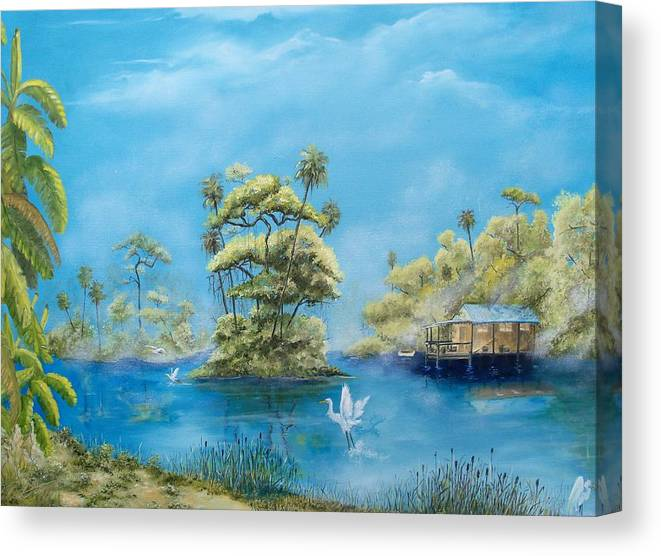 Landscape Canvas Print featuring the painting Fog Extended by Dennis Vebert