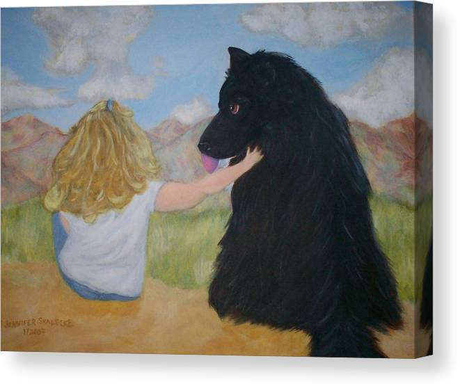 Dog Canvas Print featuring the painting Forever Friends by Jennifer Skalecke