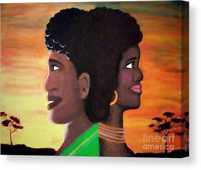 African Heritage Canvas Print featuring the painting Fusion by Wanda Pedrosa