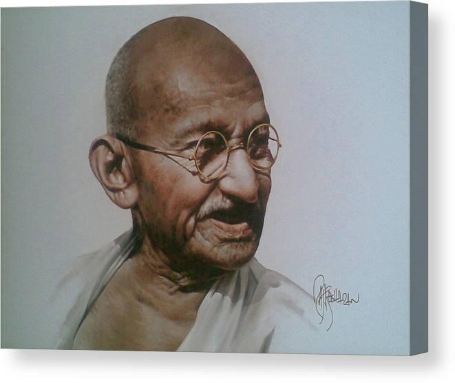 Figurative Canvas Print featuring the painting Gandhiji by Rajasekharan Parameswaran