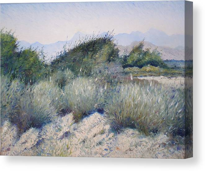 Oman Landscapes Canvas Print featuring the painting Hajar Mountains Oman 2002 by Enver Larney