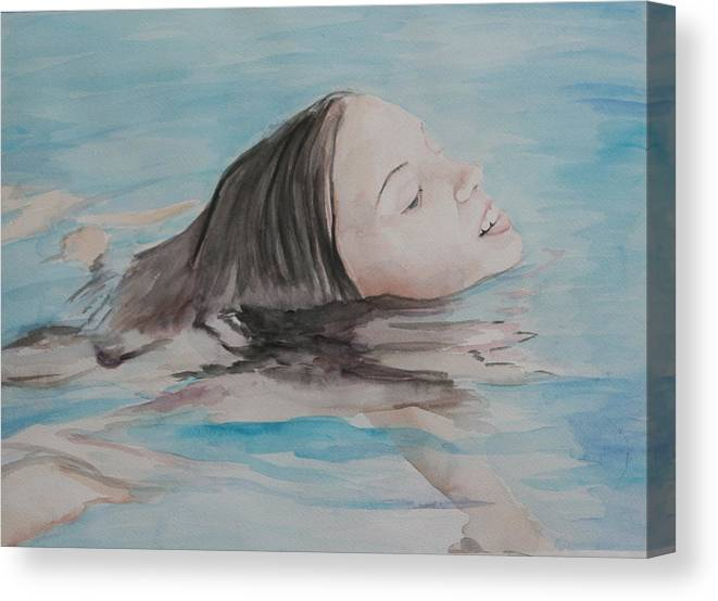 Girl Canvas Print featuring the painting Haley In The Pool by Charlotte Yealey