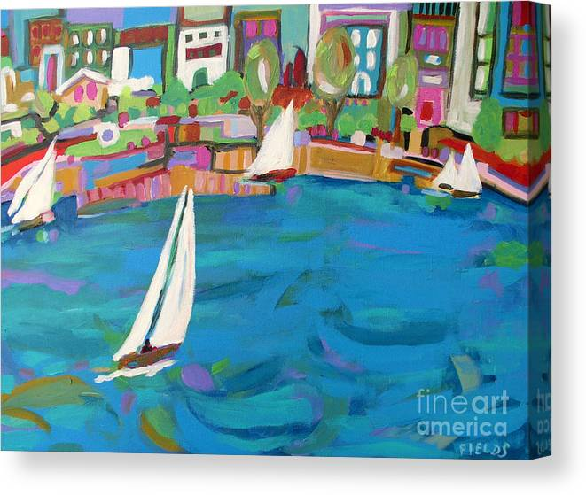 Sailing Canvas Print featuring the painting Harbor Sails by Karen Fields