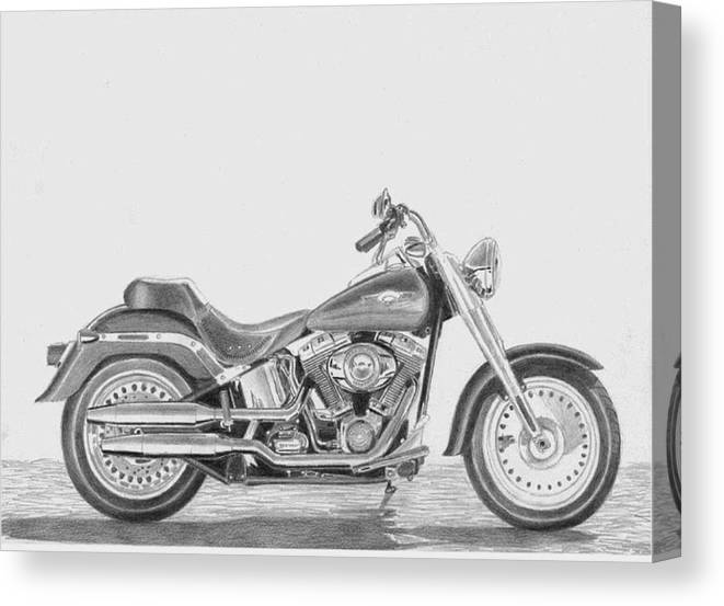 Rooks10904 Drawings Canvas Print featuring the drawing Harley-davidson Fatboy Motorcycle Art Print by Stephen Rooks