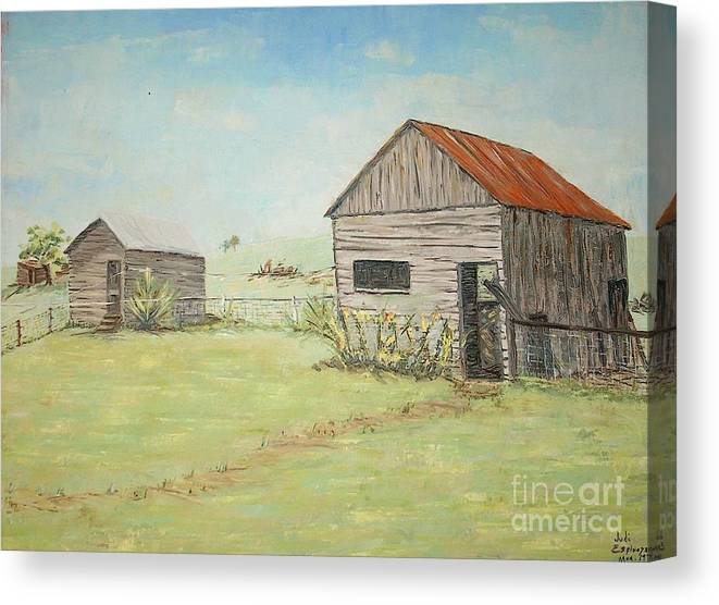 2 Small Sheds; Light Green Yard; Old Buildings Canvas Print featuring the painting Homeplace - The Smokehouse And Woodhouse by Judith Espinoza