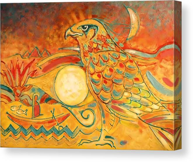 Ancient God Of The Sky & Upper And Lower Egypt. Canvas Print featuring the painting Horus by Patrick Stickney