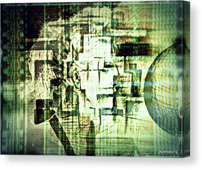 Peculiarities Of Face Canvas Print featuring the digital art Identity In Uninterrupted Mutation by Paulo Zerbato