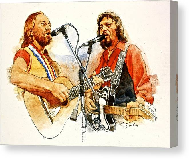 1f636f22e246c Acrylic Portrait Canvas Print featuring the painting Its Country - 7 Waylon  Jennings Willie Nelson by. Wall View 001