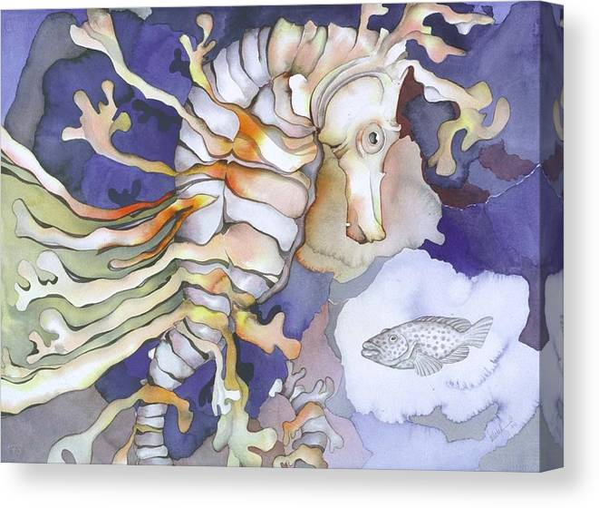 Sealife Canvas Print featuring the painting Just Dreaming Too by Liduine Bekman