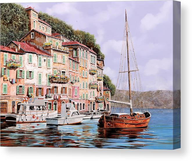 Landscape Canvas Print featuring the painting La Barca Rossa Alla Calata by Guido Borelli