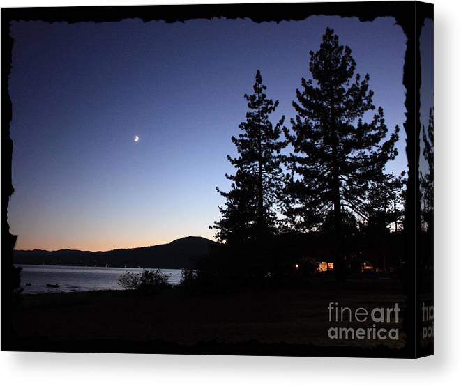 Lake Tahoe Sunset Canvas Print featuring the photograph Lake Tahoe Sunset With Trees And Black Framing by Carol Groenen