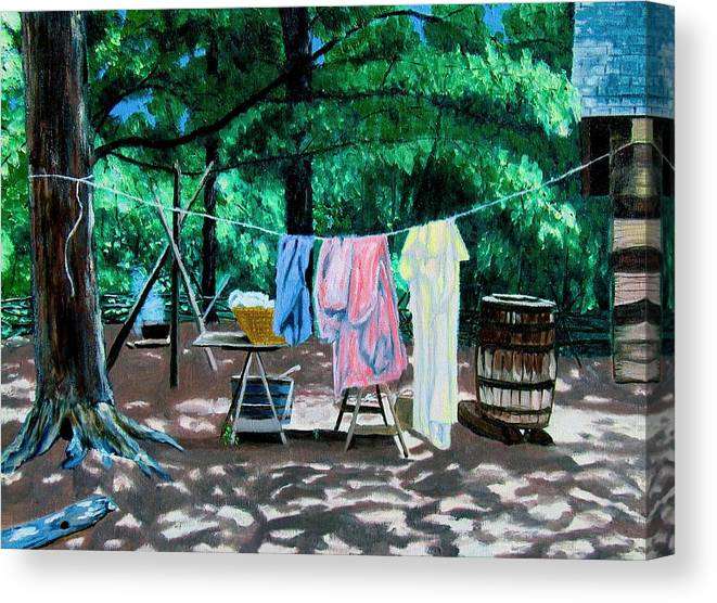 Original Oil On Canvas Canvas Print featuring the painting Laundry Day 1800 by Stan Hamilton