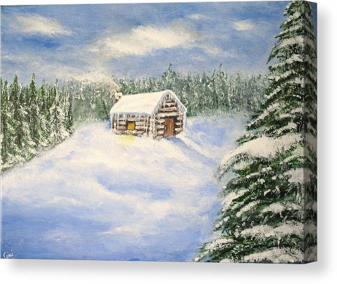 Log Cabin Canvas Print featuring the painting Let It Snow by Lisa Cini
