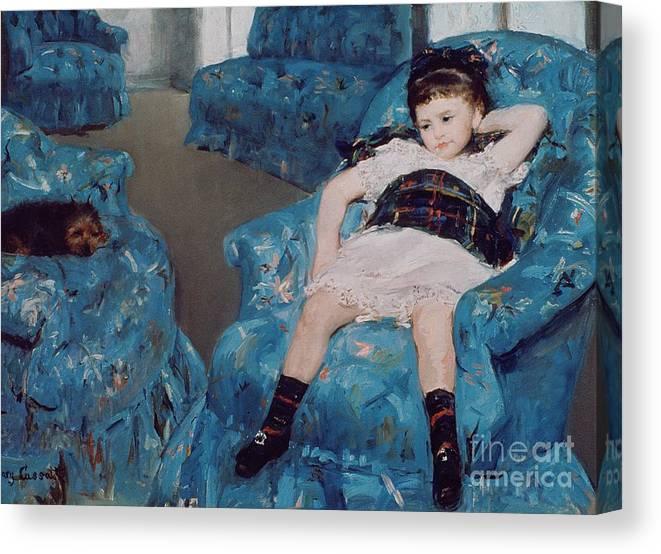 little girl in a blue armchair canvas print canvas art by mary