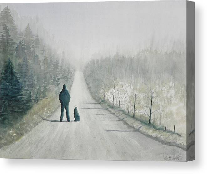 Winter Canvas Print featuring the painting Long Road Home by Ally Benbrook