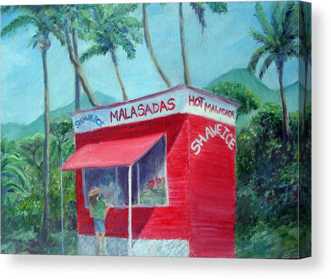 Malasada Stand Canvas Print featuring the painting Malasada Stand by Mike Segura