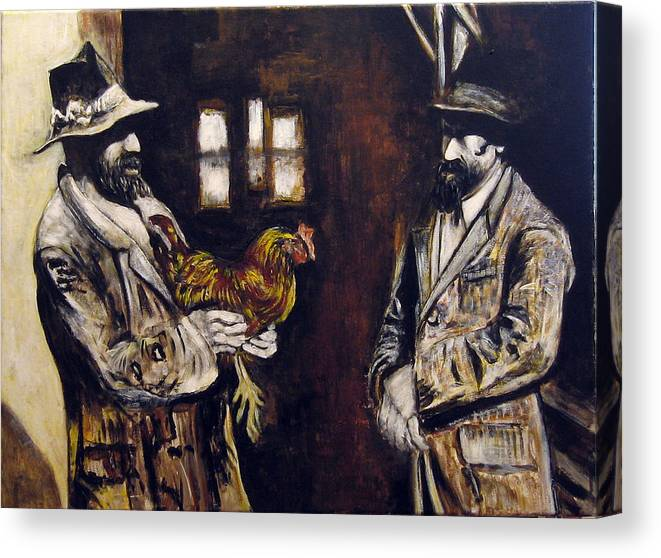 Figurative Canvas Print featuring the painting Men And Hen After A Photograph Shown On Pbs by Vladimir Kezerashvili