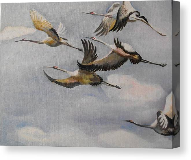 Geese Canvas Print featuring the painting Migration Frame 1 by Min Wang