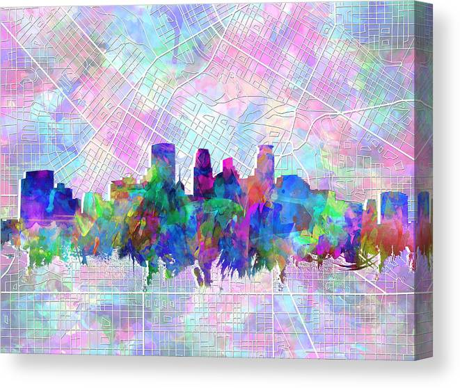 Minneapolis Canvas Print featuring the painting Minneapolis Skyline Watercolor by Bekim M