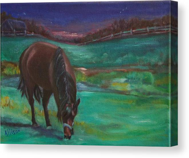 Horse Canvas Print featuring the painting Moonlight Snack by Stephanie Allison