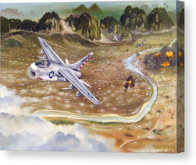 Aviation Canvas Print featuring the painting Mu Gia Mayhem by Marc Stewart