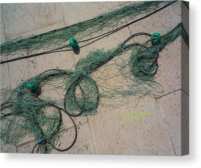 Fishing Net Canvas Print featuring the photograph Neptune Green by Charles Stuart