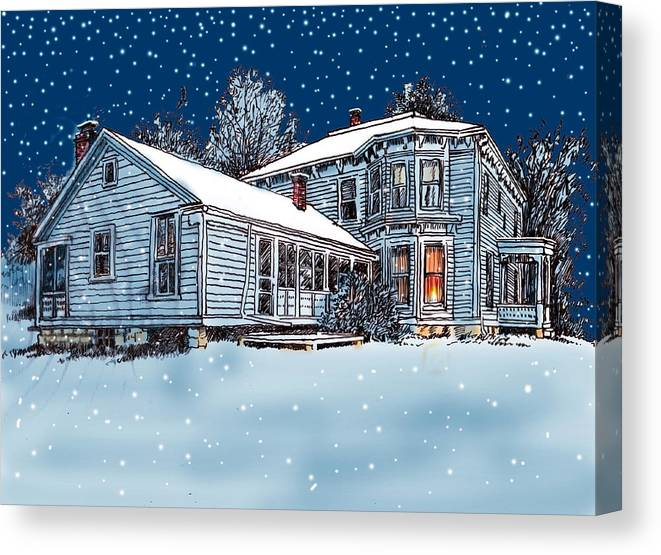 Old Country Home Canvas Print featuring the mixed media Old Country Home by John Lautermilch