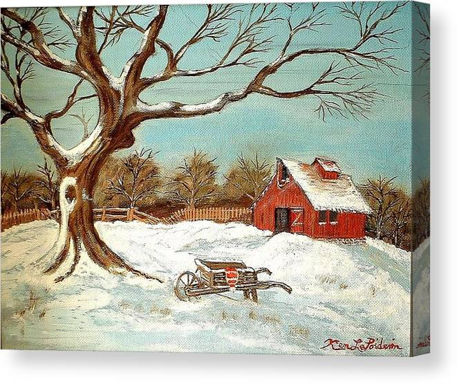 Old Tree Barn Wheelbarrow Snow Winter Painting Canvas Print featuring the painting Old Tree And Barn by Kenneth LePoidevin