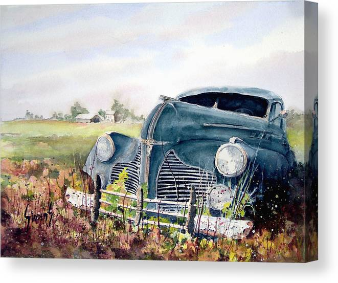 Classic Car Canvas Print featuring the painting Out To Pasture by Sam Sidders