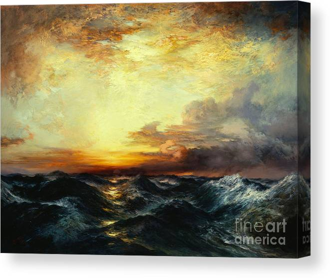 Thomas Moran Canvas Print featuring the painting Pacific Sunset by Thomas Moran
