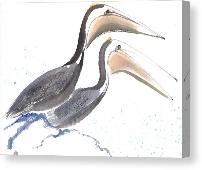 A Pair Of Pelican Is Perching On Rock. This Is A Contemporary Chinese Ink And Color On Rice Paper Painting With Simple Zen Style Brush Strokes.  Canvas Print featuring the painting Pelicans by Mui-Joo Wee