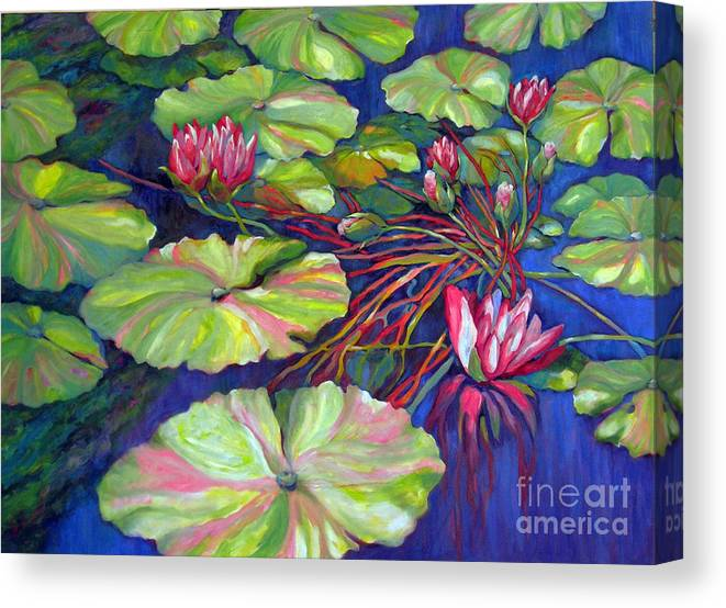 Contemporary Art Canvas Print featuring the painting Pond 8 Pond Series by Sharon Nelson-Bianco