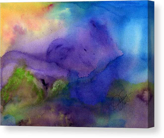 Watercolor Canvas Print featuring the painting Purple Moon by Stephanie Jolley