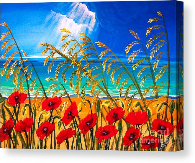 Red Flowers Art Canvas Print featuring the painting Red Poppies And Sea Oats By The Sea by Patricia L Davidson
