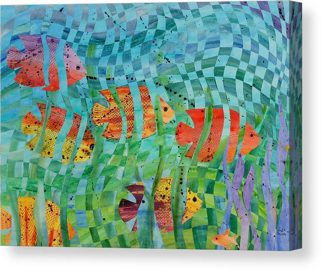 Fish Canvas Print featuring the painting Reef 1 by Linda L Doucette