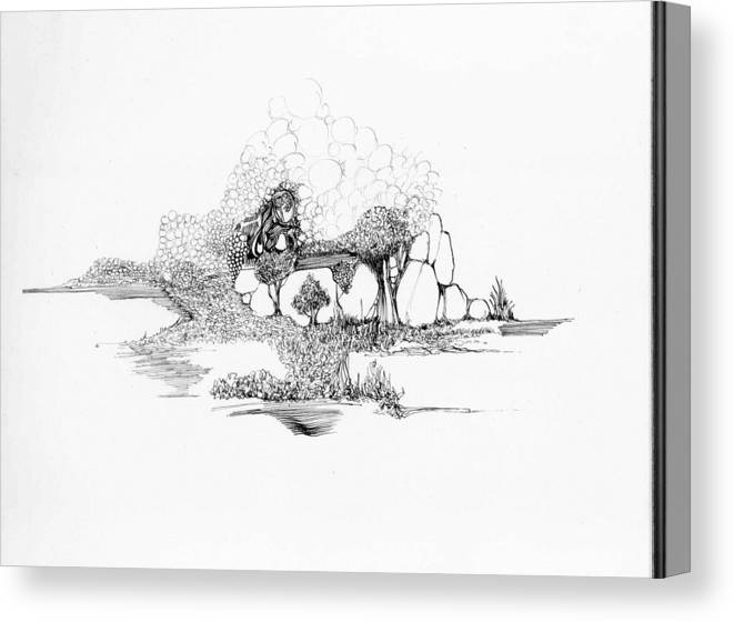 Landscape Canvas Print featuring the drawing Rocks And Bubbles by Padamvir Singh