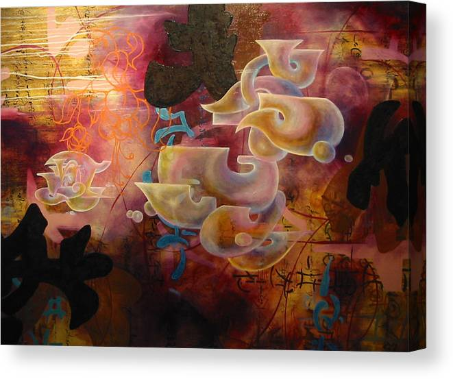 Abstraction Canvas Print featuring the painting Roller Coaster Love by Monica James