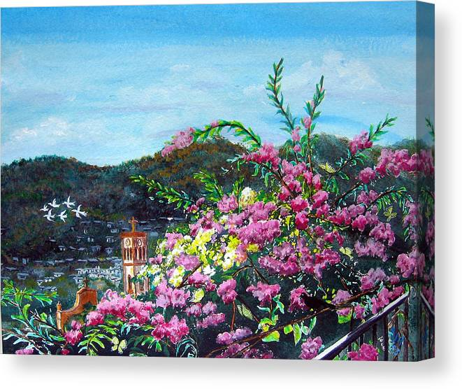 Landscape Canvas Print featuring the painting San Jose Church Matagalpa by Sarah Hornsby