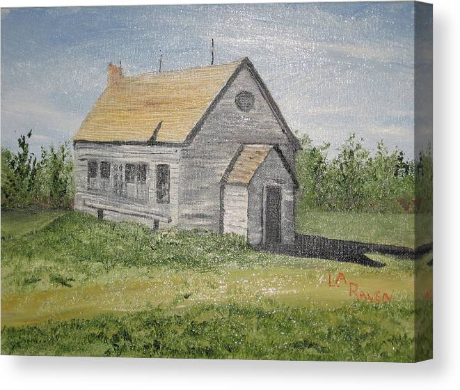 Old Building Canvas Print featuring the painting Somebody Once Loved Me by L A Raven