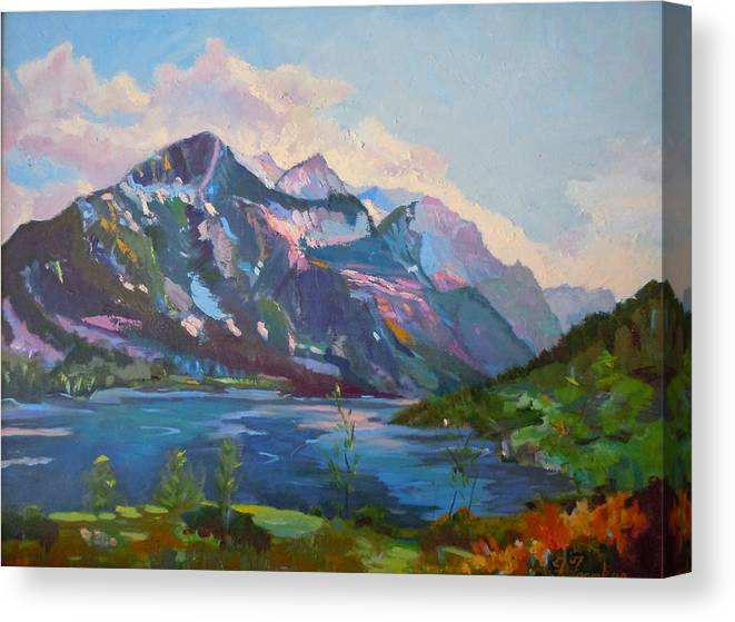 Landscape Canvas Print featuring the painting St. Marys Lake Glacier National Park by Francine Frank