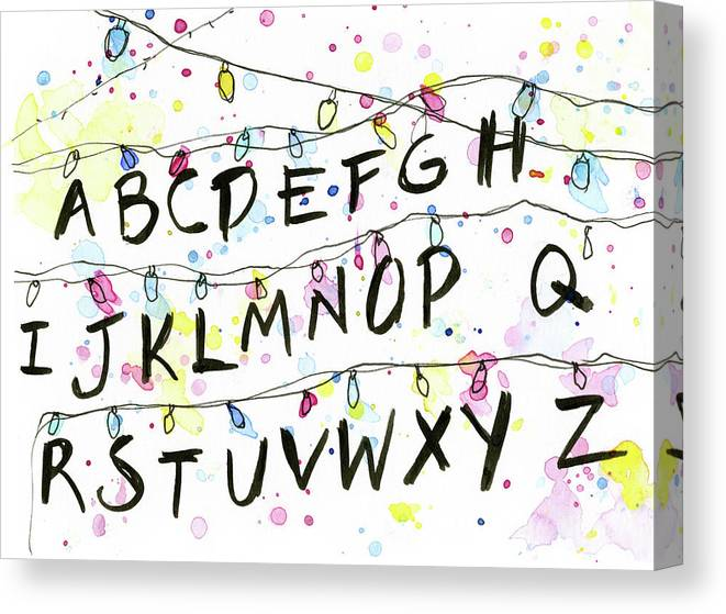 Lights Canvas Print featuring the painting Stranger Things Alphabet Wall Christmas Lights by Olga Shvartsur