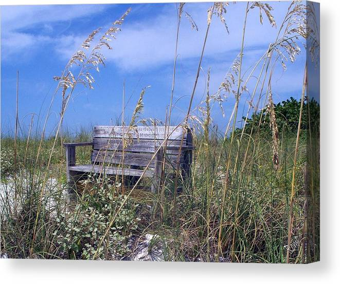 Bench Canvas Print featuring the photograph The Bench by Robin Monroe