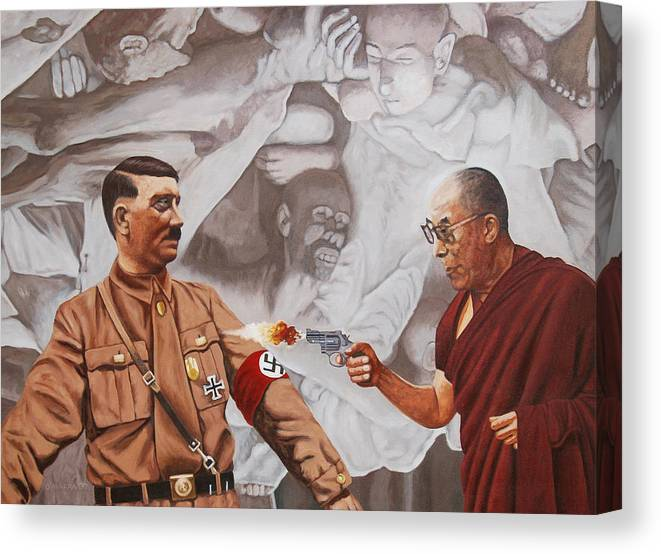 Dalai Lama Canvas Print featuring the painting The Dalai Lama Shoots Adolph Hitler by Allan OMarra