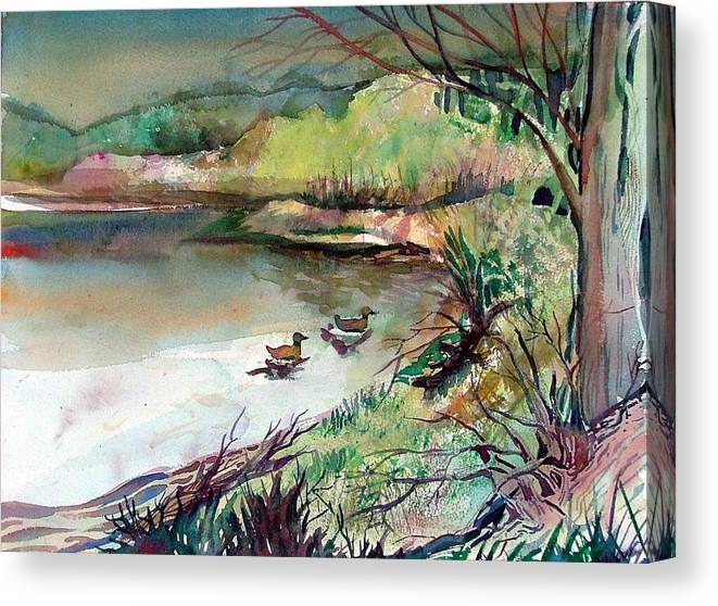 Ducks Canvas Print featuring the painting The Duck Pond by Mindy Newman