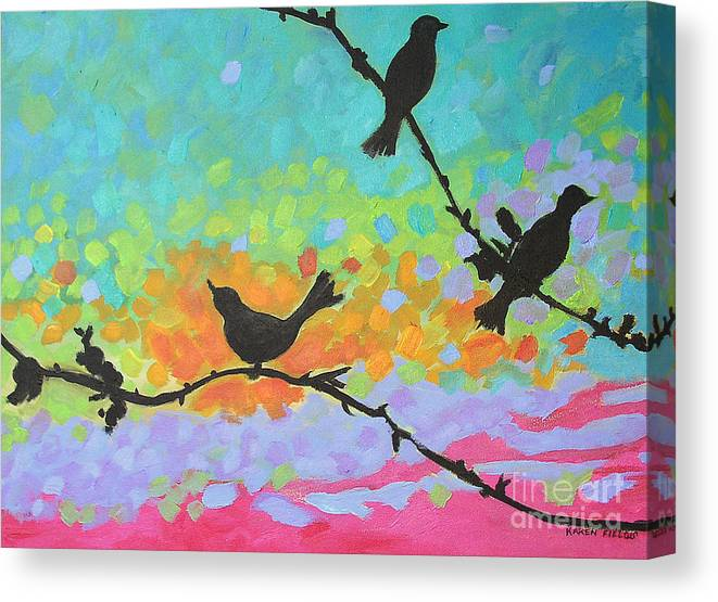 Urban Canvas Print featuring the painting Three Birds by Karen Fields